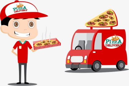 A cartoon with pizza delivery business
