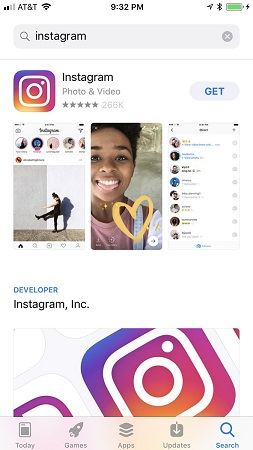 Download Instagram from Apply Store